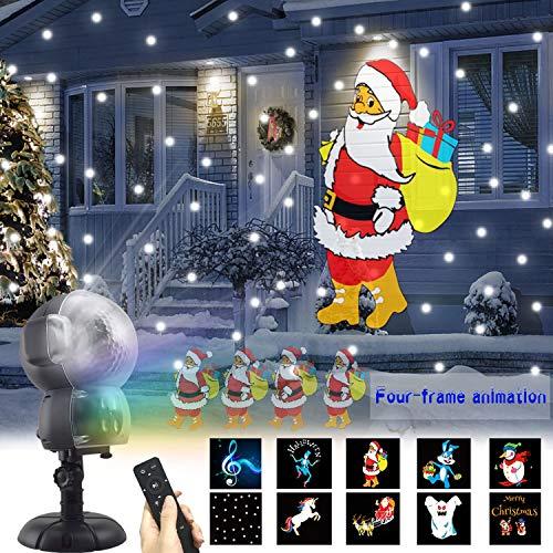 UKEER Proiettore Luci  LED Natale, Animazione Neve Flood Light, Caduta Della Neve Proiettore con Telecomando Illuminazione da Interno ed Esterno Natale Partito, Giardino Decorativa