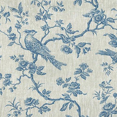 einenstoff | Die hoheitsvollen Vögel Stoff - Denim Blau und Naturfarbe (Grundfarbe) | 100% Leinenstoff | Stoffbreite: 150 cm (pro Laufmeter)* ()