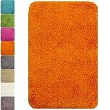 PROHEIM Badematte in vielen Formen rutschfester Badvorleger Premium Badteppich 1200 g/m² weich & kuschelig Hochflor, Farbe:Orange, Produkt:Badematte 60 x 90 cm