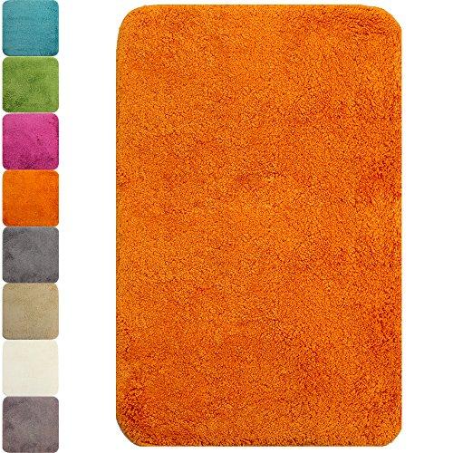 proheim Badematte in vielen Formen rutschfester Badvorleger Premium Badteppich 1200 g/m² weich & kuschelig Hochflor, Farbe:Orange, Produkt:Badematte 50 x 80 cm