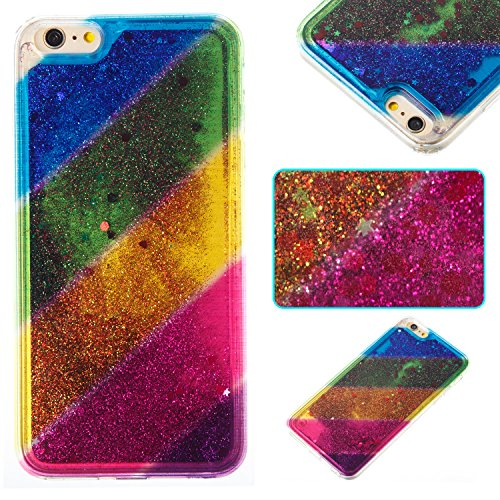 Custodia Per iPhone 6 Plus 5.5 Muovono Liquida Polvere scintillante [Arcobaleno modello] Sequin Cuori Glitter Flowing 3D Creative Disegno Copertura Sottile Gomma Protettivo Caso Modello Soft Shine Bl Diagonale