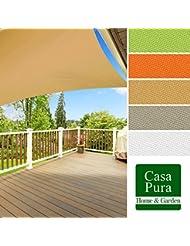 casa pura® Sonnensegel wasserabweisend imprägniert | quadratisch, 3x3m | UV Schutz | viele Farben (sandfarben)