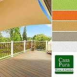 casa pura® Sonnensegel wasserabweisend imprägniert | quadratisch, 3x3m | Testnote 1.4 | UV Schutz | viele Farben (sandfarben)