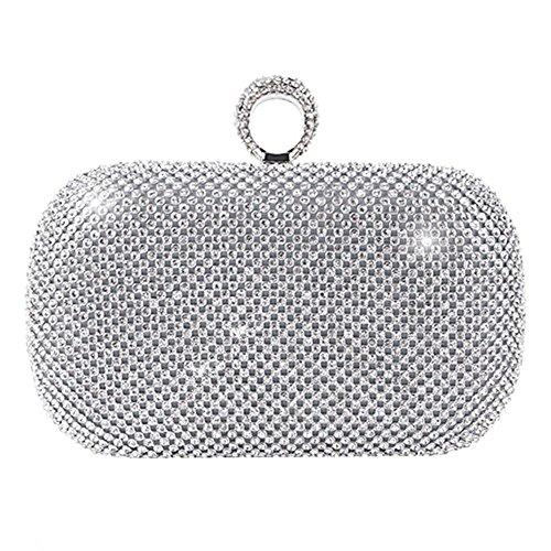 Schwarz Inkrustierter Diamant Abendtasche Kupplung Hochzeit Geldbörse Party Box. (16.5 X 13 Cm) . Silver . One Size (Silber Kupplung Geldbörse)