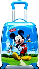 GOCART Baby Boy's and Baby Girl's Polycarbonate and Polyester Hard Side Waterproof 360 Degree Rotating School Bag - Blue