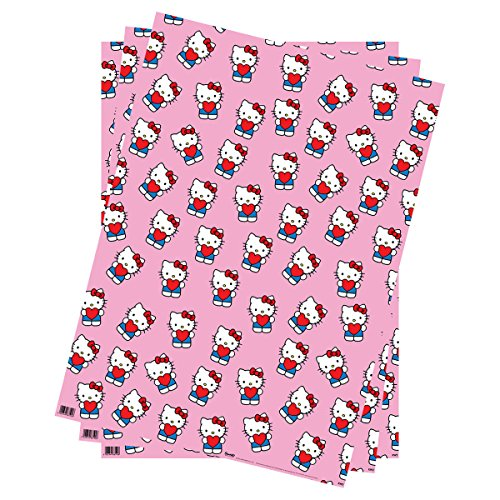 Geschenkpapier-Hello Kitty (Pink mit Herzen)