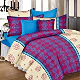 #6: Ahmedabad Cotton Basics 136 TC Cotton Double Bedsheet with 2 Pillow Covers - Pink and Blue