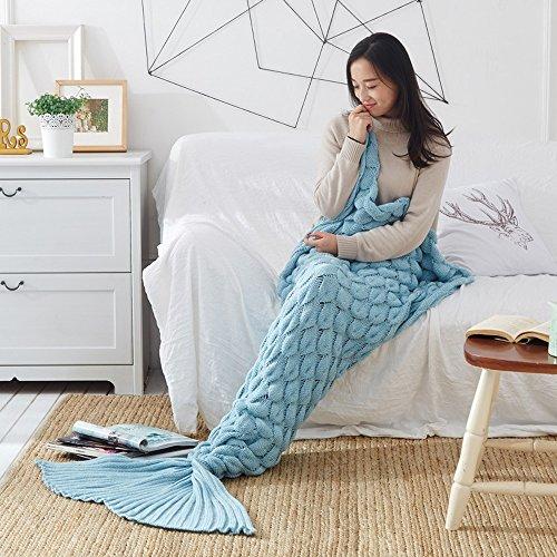 Verzeihen Sie - Handgemachte weiche Häkelarbeit-Meerjungfrau-Decken Gestrickte Muster Alle Jahreszeiten weiche und warme schlafende Meerjungfrau-Decken Erwachsener für Frauen, Mädchen, Teens für Geschenk Weihnachtsgeschenk ( Color : Blue2 )