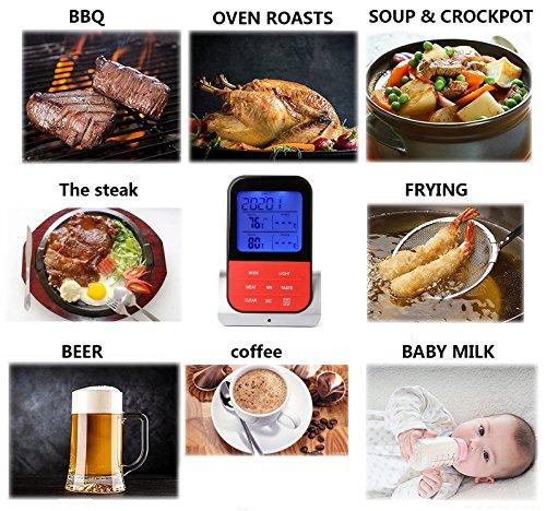61uKts5TCCL - Grillthermometer Digital Wasserabweisend 5S Barbecue Grill Thermometer Fleischthermometer, LED-Anzeige, °C/°F Umschaltbar, Lange Edelstahl Probe für Garten Grillen, Backen, Ofen, Kochen, Steak usw … (Rot)