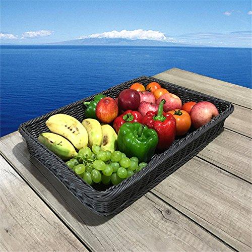 XBR Panier en rotin écran Plastique Plateau Décoration paniers de fruits, Assiette à Pain Panier en rotin Panier de rangement, 40*30*4, Noir