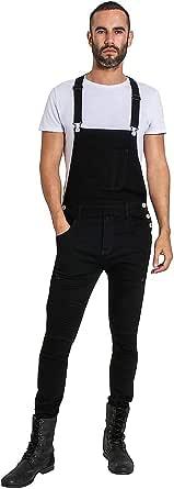 Wash Clothing Company Mens Super Skinny Biker Dungarees - Black Denim Overalls Slim Adjustable Straps Trafford