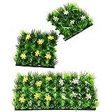 com-four® 4X Deko Gras-Matte, Kunstrasen-Dekomatte mit Blumen z.B. für Frühlings- oder Osterdekoration, 13x13cm (04 Stück - 13 cm)