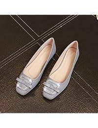 HhGold Calzado de Corte Calzado Plano Cuadrado Shallow Boca Mariposa Rhinestone Hebilla Cuadrada Plana con Zapatos