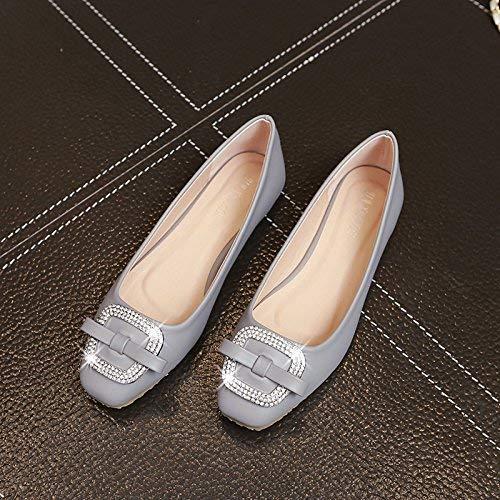 LF Flache Schuhe Flache Mundschmetterlingsrhinestonequadratschnalle Flache Unterseite Damenschuhe,34 -