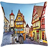 Throw Pillow German Cushion Cover, Rothenburg OB der Tauber Bavaria Germany Famous Street with Colorful Classic Houses, Decorative Square Accent Pillow Case, 18 X 18 inches, Multicolor