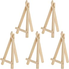 Segolike 5 Pieces Mini Wood Foldable Artist Easel for Stretch Canvas Table Tripod Display - natural, M