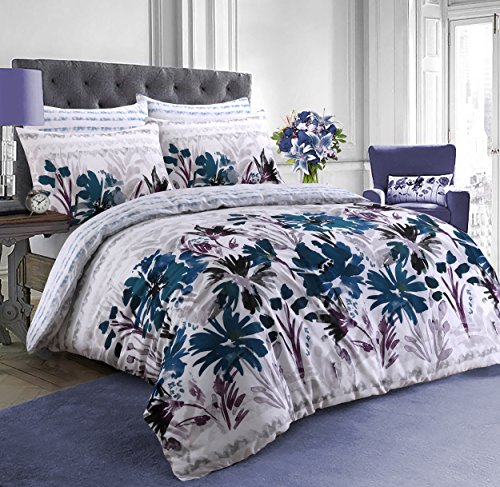 Pieridae Trending Exclusive Reversible Duvet Quilt Cover & Pillowcase sets (Large garden Flowers Teal,Single) Best Price and Cheapest