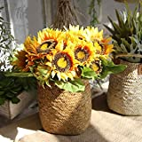 Künstliche Blumen, Fake Blumen Silk Kunststoff Künstliche Sonnenblumen, Bridal Hochzeit Bouquet für Home Garden Party Hochzeit Dekoration