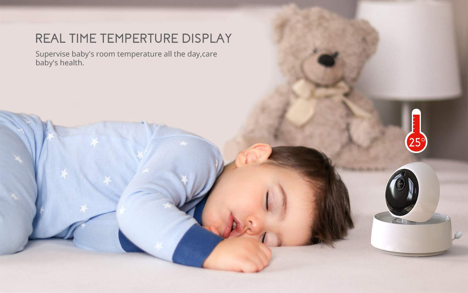 "Baby Monitor, COOAU 5"" Wireless Video Baby Monitor with 1280x720P HD Screen, 2000mAh Rechargeable Battery, Support Two-Way Audio, Infrared Night Vision, Temperature Monitor, 2.4GHz Safe Connection COOAU 👶 5"" 1280*720P HD LCD Screen with 1 Million Pixel Camera: COOAU baby monitor comes with a high quality screen and camera, bring a crystal clear view, no grainy and washed out, even in dark. 👶 Pan Tilt & 2X Zoom-in: You can adjust the angle via 355*120 degree pan/tilt remote control, zoom right in and see if your baby's eyes were opened or closed without any issue. 👶 Infrared Invisible Night Vision: Using 940nm infrared light, effectively protect your baby's eyes. Up to 5 meters night vision viewing distance, pick up images of your baby in dark or low light conditions. 8"