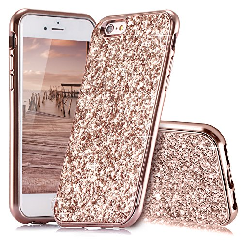 HUDDU iPhone 6 Hülle Glitzer iPhone 6S Handyhülle Bling Glitter Case Hart PC Bumper Hard Back Cover Abdeckung Sparkles Luxus Schutzhülle für iPhone 6s 4.7 Zoll Rosegold