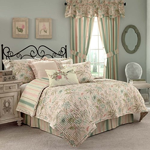 Spa-quilt (Waverly Cape Coral Quilt Set, baumwolle, Spa Blue, dusty turquioise, sweet pea green and golden yellow, Queen)