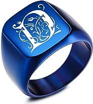MeMeDIY Custom Engraved Initial Monogram Signet Ring for Men Women Boys Mens Rings Stainless Steel, Bundle with Ring Size Ad