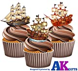 Pirate Ships Mix Cake Decorations - 12 Edible Wafer Cup...