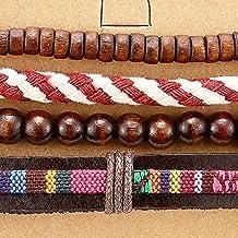 Mezcla 4 Marron Rojo Pulsera Abrigo de Hombre Mujer, Multi-hilo Brazalete de Cuero Algodón Madera Perlas, Etnica Tribal