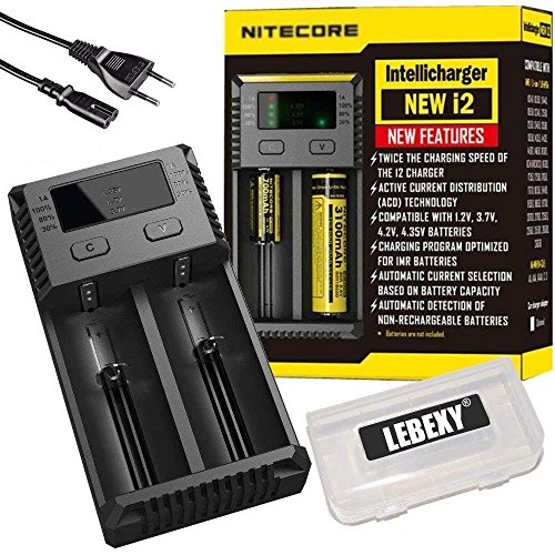 Nitecore NEW i2 Intellicharge Ladegerät für Li-Ion / IMR / Ni-MH / Ni-Cd 26650 22650 18650 18490 18350 17670 17500 17335 16340 RCR123 14500 10440 AA AAA AAAA Batterien Akku Akkus Accu e-zigarette