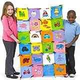 Bastelset - Patchwork - Quadrate aus Stoff zum Bemalen und Dekorieren für Kinder als Wandbehang und Decke - 32 Stück