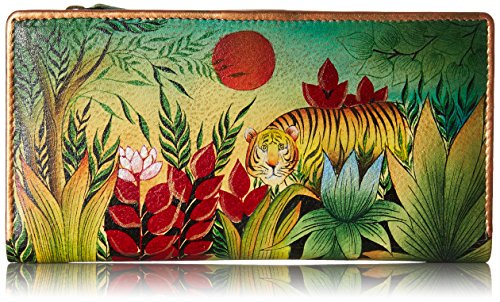 Anuschka Geldbörse (Anuschka handgemalte Leder, Damenbörse, Damenkupplung, Geldbörse der Frauen - Ladies Wallet / Clutch (Rousseau's Jungle 1088 RSJ))