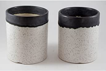 Lasaki Mug (Set of Three) Ceramic Pots for Indoor Plants,Planters,Flower pots,gamla for Indoor,Outdoor,Balcony,Home,Garden,Office Decor,Succulent Pot (Color:White Black)(D:8.5 cm, H:10 cm)