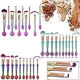 Set di 10pennelli da trucco con manico a forma di pinna di sirena, pennelli professionali per fondotinta, cipria, occhi, ombretto Pink