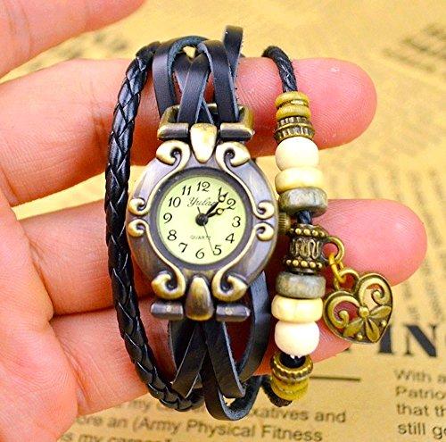 Kim Johanson Damen Armbanduhr aus Leder Schwarz - Retro Herz Uhr Neu & OVP inkl. Geschenkverpackung - 3