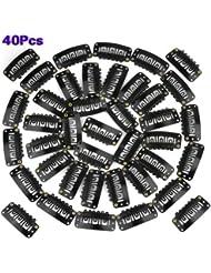 TOOGOO(R) 40pcs U Forme Acier Accrochage Clips Pour Plume Extensions de cheveux Perruques Trame Noir Couleur