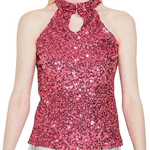 Donne Tops Glitter Paillettes Canotte Senza Maniche Magliette Bluse Argento Taglia unica Rose