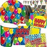 101-teiliges * HAPPY BIRTHDAY * PARTY SET für Geburtstag mit bis zu 8 Gästen: Teller, Becher, Servietten, Einladungen, Tischdecke, Partytüten, Luftschlangen, Luftballons, u.v.m. // Mottoparty