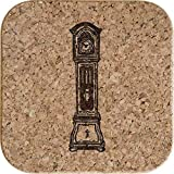 Azeeda 4 x 'L'Orologio del Nonno' 10cm Sottobicchieri Quadrati in Sughero (CR00148080)