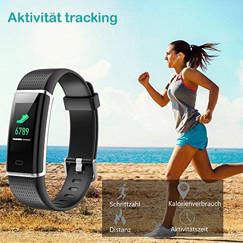 YAMAY Fitness Armband,Wasserdicht IP68 Fitness Tracker mit Pulsmesser 0,96 Zoll Farbbildschirm Aktivitätstracker Fitness Uhr Smartwatch,Pulsuhren,Schrittzähler Uhr,Smart Watch für Damen Herren - 2