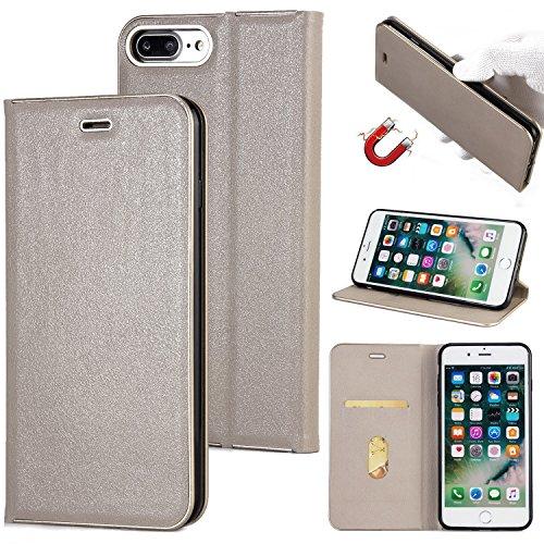 Hülle für iPhone 7 plus , Schutzhülle Für iPhone 7 Plus Schöne Elegante Magnetverschluss PU Leder Schutzhülle ,hülle für iPhone 7 plus , case for iphone 7 plus ( Color : Black ) Gray