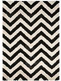 benuta Shaggy Hochflor Teppich Graphic Zick Zack Schwarz/Weiß 80x150 cm | Langflor Teppich für Schlafzimmer und Wohnzimmer