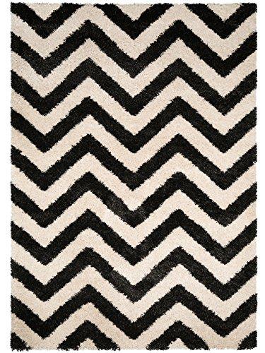 benuta Shaggy Hochflor Teppich Graphic Zick Zack Schwarz/Weiß 120x170 cm | Langflor Teppich für Schlafzimmer und Wohnzimmer (Schwarz Und Weiß Chevron Teppich)