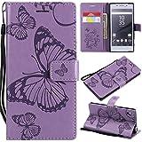 Hozor Sony Xperia Z5 Handyhülle, Retro Großer Schmetterling Muster PU Kunstleder Ledercase Brieftasche Kartenfächer Schutzhülle mit Standfunktion Magnetverschluss Flip Cover Tasche, Lila