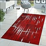 Matrix Salón Alfombra Diseño Pelo Corto jaspeado Rojo Negro Crema, polipropileno, 160 x 220 cm