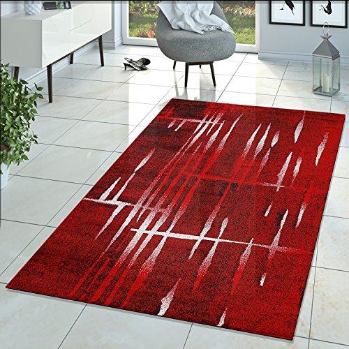 Matrix Salón Alfombra Diseño Pelo Corto jaspeado Rojo Negro Crema, polipropileno, 70 x 140 cm