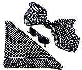 50er Jahre Set schwarz seidig weich Monro. Fasching-Set Damen Rockab. Tuecher mit passender Sonnen-Brille 60er RockaB.Tuch Poly. BLACK 5191
