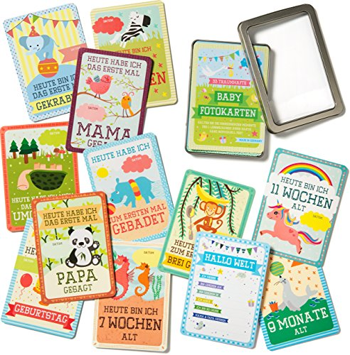 ₪ 33 traumhafte Baby Fotokarten für das erste Lebensjahr ₪ Milestone Baby Cards Box als Geburtsgeschenk oder Taufgeschenk ᴥ Foto Babykarten als Erinnerung an die großen Glücksmomente