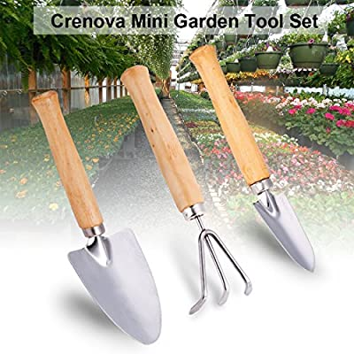 Crenova Mini Gartenwerkzeug Set, 3 Stück Edelstahl Heavy Duty Gardening Kit mit massivem Holz Rutschfeste Griff, 2 Kellen + 1 Rechen, Garten Geschenke für Männer und Frauen