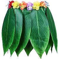 Wenquan,Paño Similar a la Seda Artificial de la Falda de la Hoja Verde de Luau Hawaiano para la Fiesta de Baile en la Playa(Color:MAR Verde)