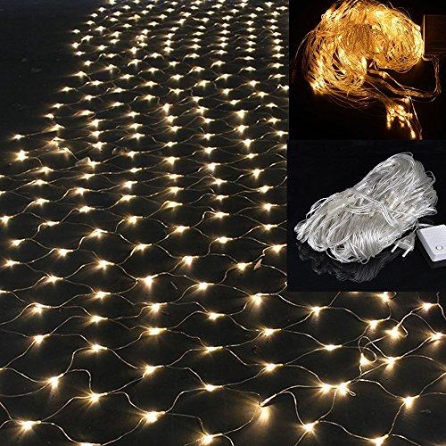 WYBAN 2 x 2M 144 LEDs Warmweiß Lichterkette/Netzlicht Helles Netzlicht Außenbeleuchtung für Gartendekorationslichter/Park/Hochzeit /Partei / Innen und Außen Deko (2 x 2M-Warmweiß)